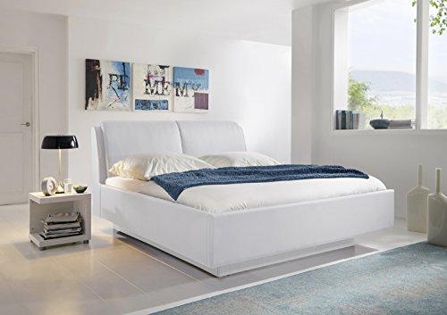 SAM® Design Polsterbett BERTA 180 x 200 cm Bett in weiß moderne Linienführung mit Schwebeoptik, integrierte Kissen am Kopfteil