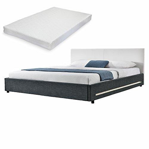 [my.bed] Elegantes LED Polsterbett mit Kaltschaum-Matratze (H2) - 180x200cm - (Kopfteil Kunst-leder weiß - Fußteil: Textil schwarz) Bett / Doppelbett / Bettgestell inkl. Lattenrost