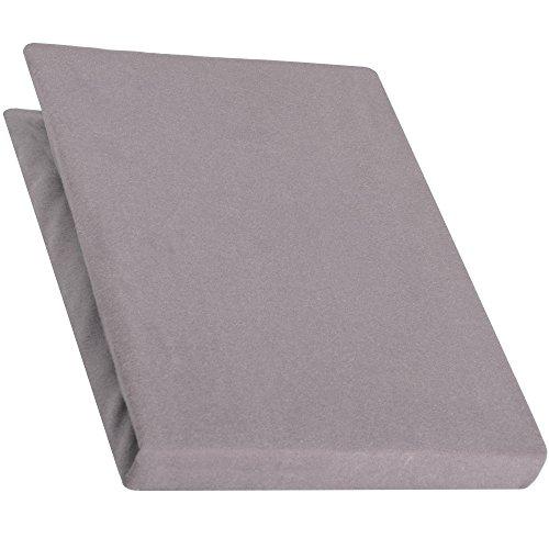 aqua-textil Jersey Spannbettlaken 140x200-160x220 cm für Boxspringbetten u. Wasserbetten, Mako-Baumwoll Qualität, klassisches Spannbetttuch für hohe Matratzen, dunkel grau, 1000491, Serie PUR