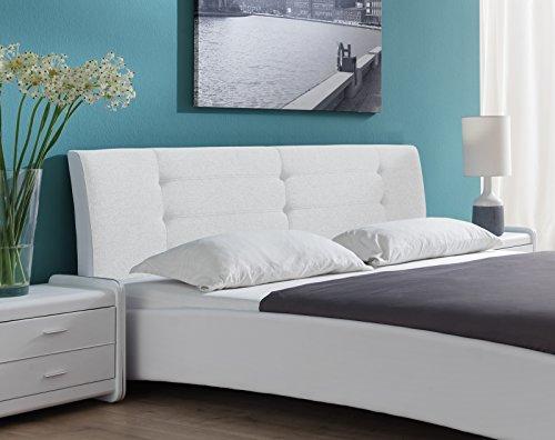 SAM Polsterbett 90x200 cm Bastia, weiß, Design-Bett mit Kunstlederbezug & Stoff, abgestepptes Kopfteil
