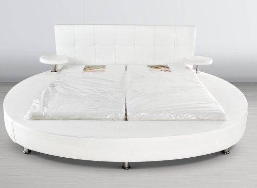 SAM® Polsterbett Rundbett weiß 180 x 200 cm, Bett mit integrierten Nachttischen im runden Design, Bett mit chrom-farbenen Füßen, modernes Design, Kopfteil abgesteppt, als Wasserbett verwendbar [521671]