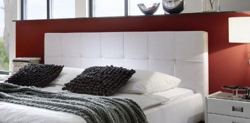 SAM Polsterbett 140x200 cm Zarah in weiß, Lederimitat, pflegeleicht, gepolstertes Kopfteil, angenehmer Liegekomfort