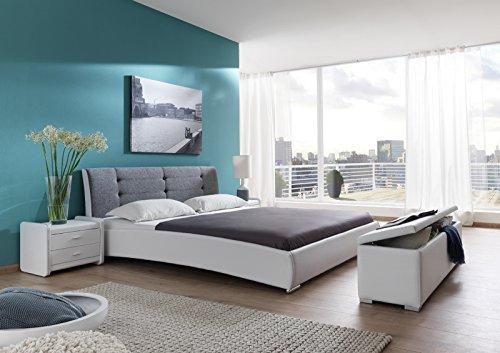 SAM Polsterbett 90x200 cm Bastia, weiß-grau, mit gepolstertem, hohen Kopfteil, Chrom-Füße, als Wasserbett verwendbar