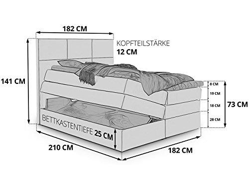 Boxspringbett York mit Bettkasten Stauraum weiß Kunsleder Kaltschaum Topper H3 Taschenfederkern-Matratze Hotelbett Doppelbett (Weiß, 180 x 200 cm)