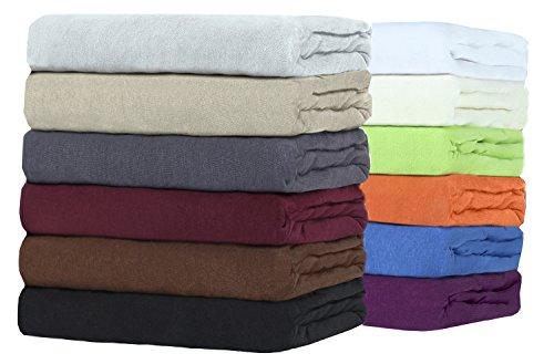 Sonderangebot!! TOPPER Jersey Spannbettlaken Boxspringbett Spannbetttuch zum Sparpreis, viele Farben und Größen hochwertige MARKENWARE (200x220 cm, weiß)
