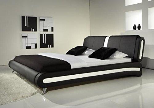 IJ Interiors–Modernes Doppelbett oder King Size Bett Leder schwarz & weiß + Memory Foam Matratze Betten, schwarz, Kingsize (1,5 m)