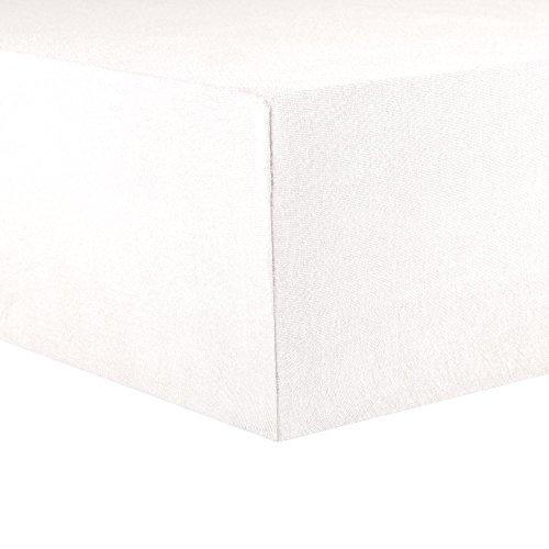 CelinaTex Topper Spannbettlaken Jersey Baumwolle 180x200-200x200 cm Spannbetttuch für Boxspringbetten-Topper 0004585 Lucina schnee-weiß