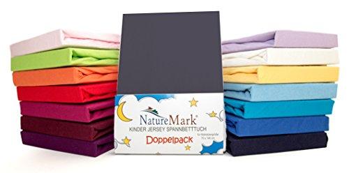 2er Sparpack Kinder Spannbettlaken Jersey 100% Baumwolle für Kinderbettmatratzen ÖKO Tex Geprüft in vielen Farben