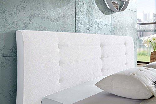 SAM Design Rundbett 180x200 cm Bastia, weiß, Kopfteil abgesteppt, mit Chromfüßen, als Wasserbett verwendbar