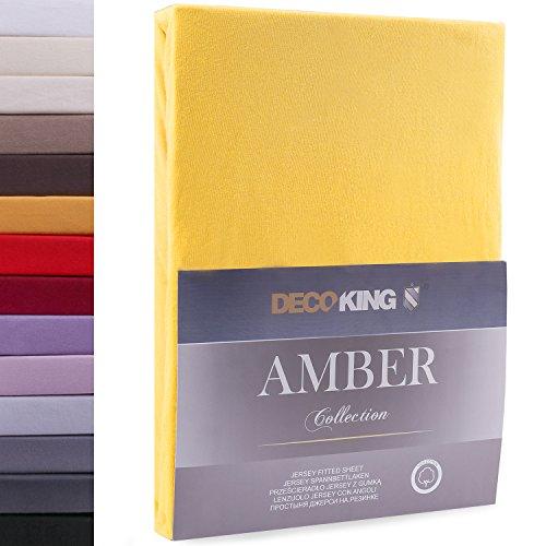 DecoKing 17913 120x200 - 140x200 cm Spannbettlaken gelb 100% Baumwolle Jersey Boxspringbett Spannbetttuch Bettlaken Betttuch orange yellow Amber Collection