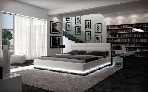 Polster-Bett 200x220 cm weiß aus Kunstleder mit LED-Beleuchtung am Fuß des Bettes | Inapir | Das Kunst-Leder-Bett ist ein edles Designer-Bett | Doppel-Bett 200 cm x 220 cm in Leder-Optik, Made in EU)