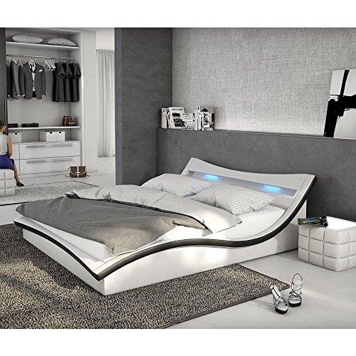 Polster-Bett 180x200 cm weiß-schwarz aus Kunstleder mit LED-Beleuchtung | Magari | Das Kunst-Leder-Bett ist ein Designer-Bett | Doppel-Betten 180 cm x 200 cm mit Lattenrost in Leder-Optik, Made in EU
