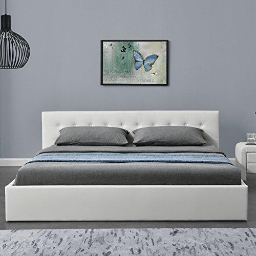 "Polsterbett ""Marbella"" - 180 x 200 cm - weiß mit Lattenrost & Kaltschaummatratze   ArtLife"