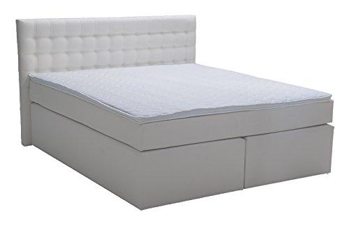 King Boxspringbett 180x200 cm mit Luxus 7-Zonen Taschenfederkernmatratze Visco-Topper H3 Weiß Kunstleder Hotelbett Doppelbett Polsterbett von Betten Jumbo