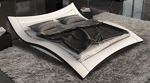 SAM Polster Bett LED 180x200 cm Salina in weiß/schwarz, außergewöhnliches Design, Lichtleiste am Kopfteil