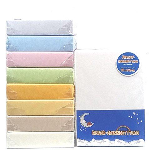 HAHN Jersey-Spannbettlaken für Kinderbett, 70x140 cm (Sonnengelb)
