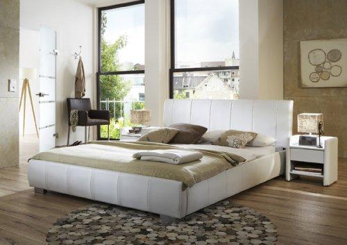 SAM Polsterbett Innocent 200x200 cm Latina, weiß, Bett aus Kunstleder, abgestepptes Design, als Wasserbett geeignet