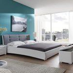 SAM Design Polsterbett 140x200 cm Bastia, weiß/grau, Kopfteil abgesteppten Design, Chromfüßen, als Wasserbett verwendbar