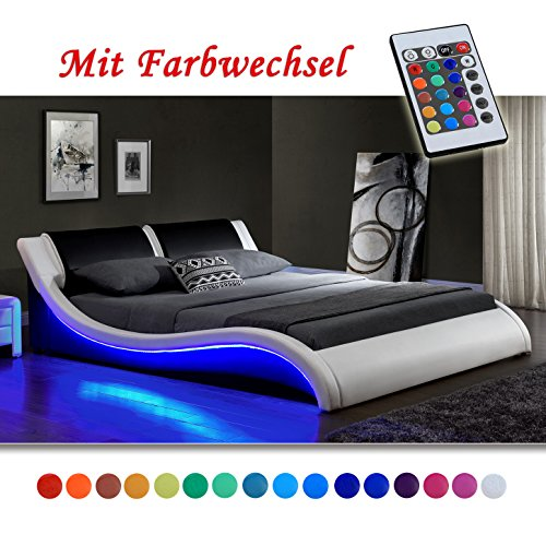 """""""Kentucky"""" Weiss/Schwarz Doppelbett Polsterbett LED Bett Lattenrost Kunstleder (140cm x 200cm)"""