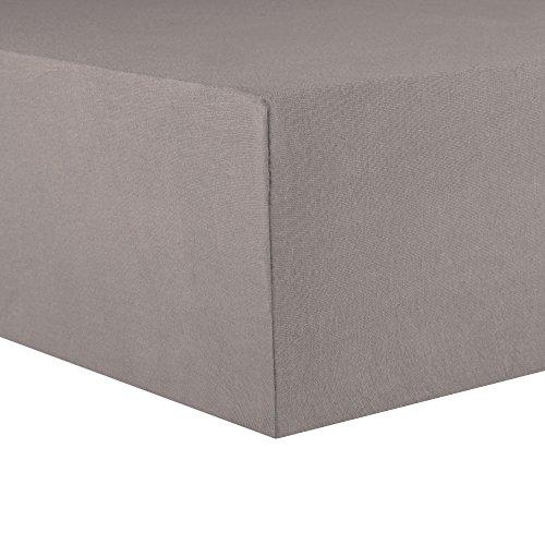CelinaTex Topper Spannbettlaken Jersey Baumwolle 180x200-200x200 cm Spannbetttuch für Boxspringbetten-Topper 0004577 Lucina dunkel-grau