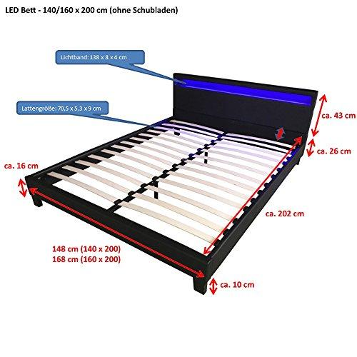 Home Deluxe LED Bett | Astro | Weiß | Verschiedene Größen | 140 x 200 cm