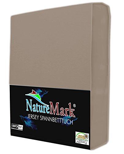 NatureMark JERSEY Spannbettlaken, Spannbetttuch 100% Baumwolle in vielen Größen und Farben MARKENQUALITÄT ÖKOTEX STANDARD 100   140 x 200 cm - 160 x 200 cm - sand / beige