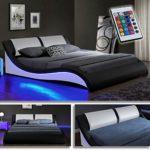 Kentucky Schwarz/Weiss Doppelbett Polsterbett LED mit Fernbedienung Bett Lattenrost Kunstleder (140 x 200cm)