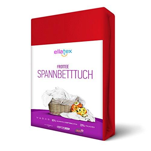 EllaTex FROTTEE Spannbettlaken 90 x 200 - 100 x 200 cm, in Farbe: Rot