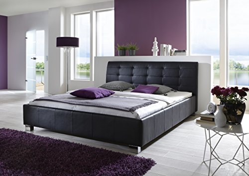 Atlantic Home Collection Bettgestell MIRO, Leder, Schwarz, 140 x 200 cm