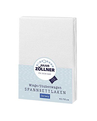Julius Zöllner 8330147540 Jersey Spannbetttuch für Wiegen 90x40 und Stubenwagen, Farbe: weiß