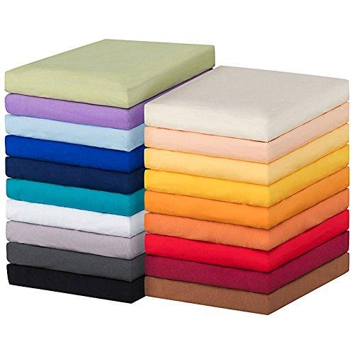 MOON-Luxury Spannbettlaken Spannbetttuch Jersey Stretch 230g/m² für Wasserbetten, Boxspringbetten und herkömmliche Matratzen (weiß, 90x200 - 100x220)