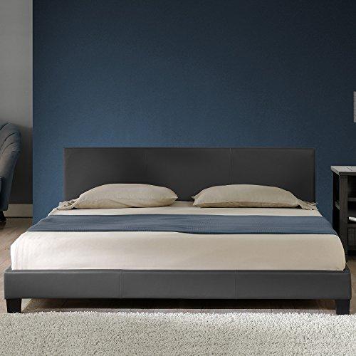 """Corium Polsterbett """"Barcelona"""" (design-grau)(140x200cm) modernes Bett / Kunst-Leder / mit Stecklattenrost /"""