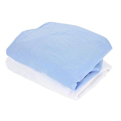 TupTam Baby Kinderbett Spannbettlaken Jersey 2er Pack, Farbe: Weiß/Hellblau, Größe: 70 x 140 cm