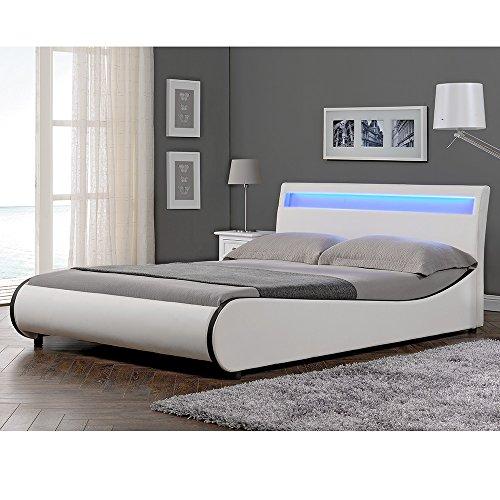 "Corium LED Polsterbett ""Valencia"" (weiß)(140x200cm) modernes Bett / Kunst-Leder / mit Stecklattenrost /"