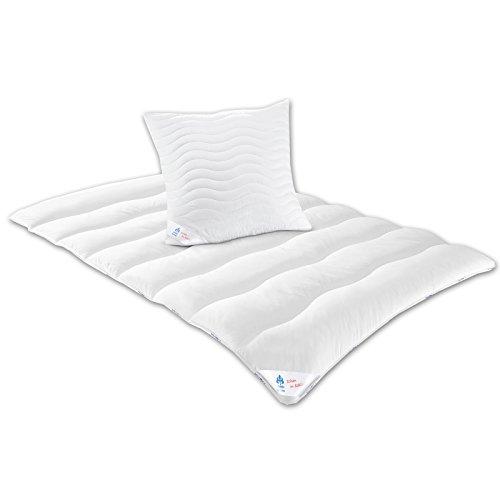 Irisette Badenia 03633479140 Bettcomfort Bettenset, bestehend aus einer Übergangsdecke 135 x 200 cm und einem Kopfkissen 80 x 80 cm,Weiß