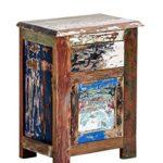 Mendler Beistelltisch CP331, Nachttisch Telefontisch Kommode, Teakholz, Shabby-Look Vintage, 58x45x30cm
