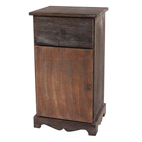 Mendler Kommode Beistelltisch Nachttisch Telefontisch, 63x35x29cm, Shabby-Look, Vintage ~ braun