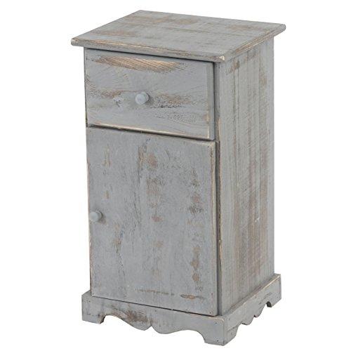 Mendler Kommode Beistelltisch Nachttisch Telefontisch, 63x35x29cm, Shabby-Look, Vintage ~ grau
