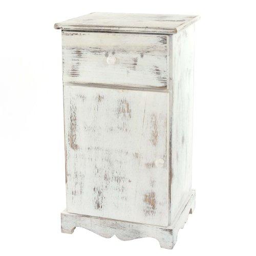 Mendler Kommode Beistelltisch Nachttisch Telefontisch, 63x35x29cm, Shabby-Look, Vintage ~ weiß