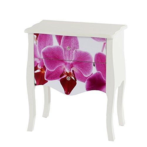 Mendler Kommode Marne Beistelltisch Telefontisch Nachttisch, 70x60x36cm ~ Orchidee