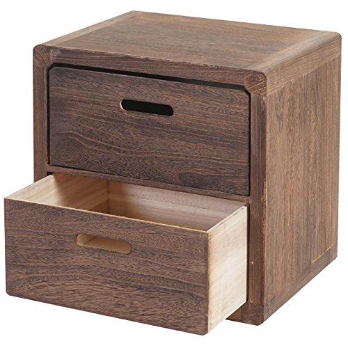 Mendler Kommode Trani, Nachtschrank Nachttisch, 2 Schubladen 44x44x35cm Shabby-Look Vintage ~ Dunkelbraun