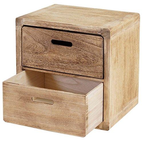 Mendler Kommode Trani, Nachtschrank Nachttisch, 2 Schubladen 44x44x35cm Shabby-Look Vintage ~ naturbraun
