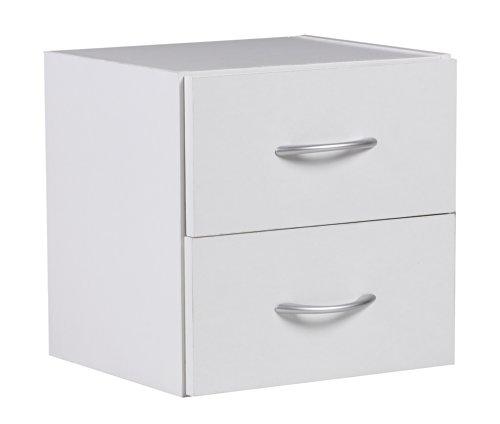 Mendler Nachttisch A139, Nachtschrank Nachtkonsole, 2 Schubladen, 35x34x32cm