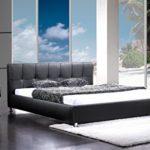 SAM Polsterbett 180x200 cm Zarah schwarz, Chrom Füße, modernes Design, Kopfteil abgesteppt, als Wasserbett verwendbar