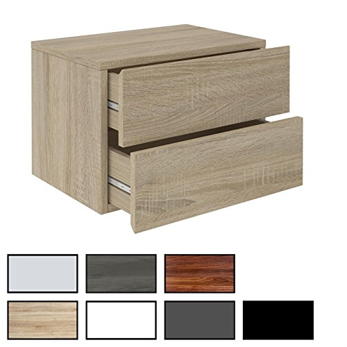 CARO-Möbel Nachtkommode ANNI Nachttisch Nachtschrank Hängend Wandregal mit 2 Schubladen in 8 Farben