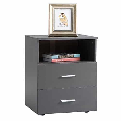 CARO-Möbel Nachttisch MERKUR Nachtschrank Nachtkommode, grau anthrazit mit 2 Schubladen 1 Fach