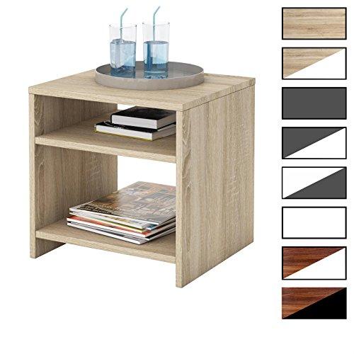 CARO-Möbel Nachttisch Nachtschrank Nachtkommode ALMERIA in Verschiedenen Farben mit 2 Offenen Fächern