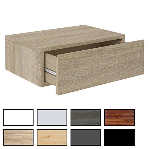 CARO-Möbel Wandregal Anne hängende Nachtkommode Wandboard Nachttisch mit 1 Schublade, griffloses Öffnen, in 8 Farben