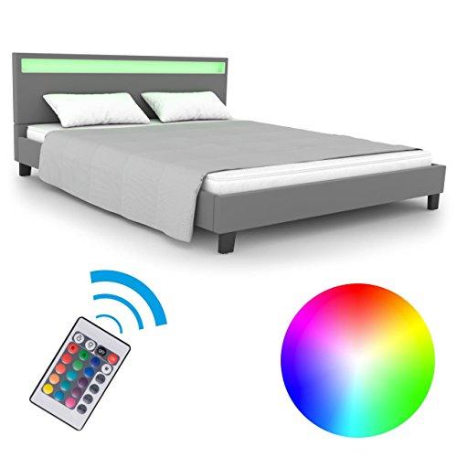 Homelux LED Bett PU Polsterbett Doppelbett Kunstlederbett Bettgestell Bettrahmen Verschiedene Farben und Größen
