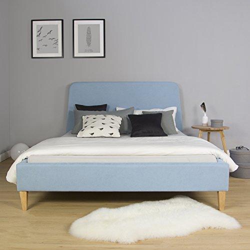 Homestyle4u 1832, Polsterbett 140 x 200 cm, Bettgestell mit Lattenrost, Rückenlehne, Blau